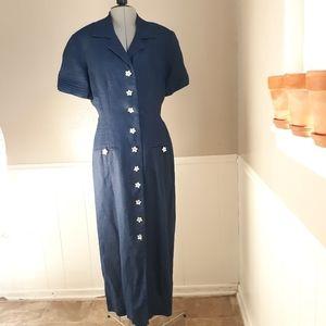 Vintage blue linen pleated maxi dress